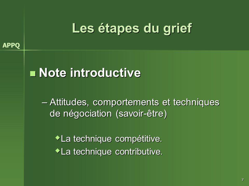 7 Les étapes du grief Note introductive Note introductive –Attitudes, comportements et techniques de négociation (savoir-être)  La technique compétit