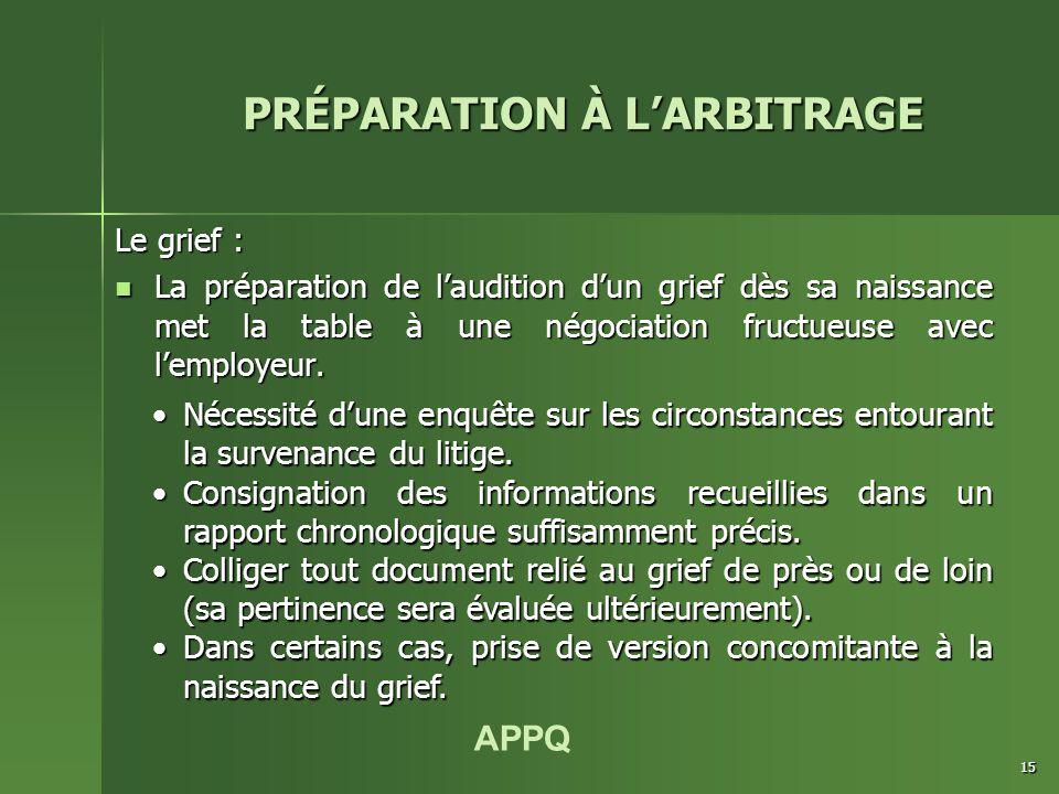 APPQ 15 Le grief : La préparation de l'audition d'un grief dès sa naissance met la table à une négociation fructueuse avec l'employeur. La préparation