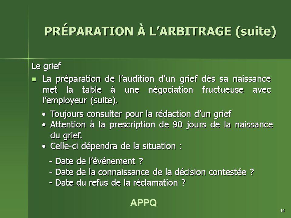 APPQ 16 Le grief La préparation de l'audition d'un grief dès sa naissance met la table à une négociation fructueuse avec l'employeur (suite).
