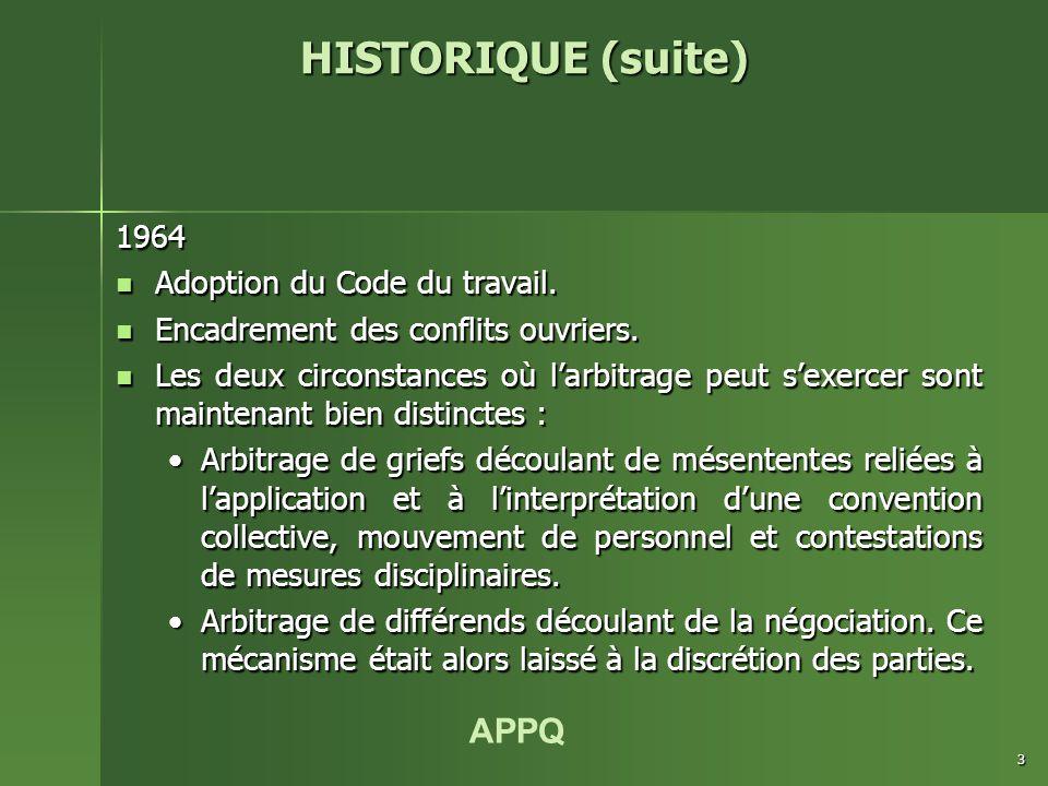 APPQ 3 1964 Adoption du Code du travail. Adoption du Code du travail.