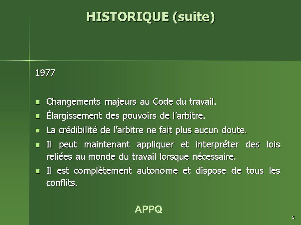 APPQ 5 1977 Changements majeurs au Code du travail. Changements majeurs au Code du travail. Élargissement des pouvoirs de l'arbitre. Élargissement des
