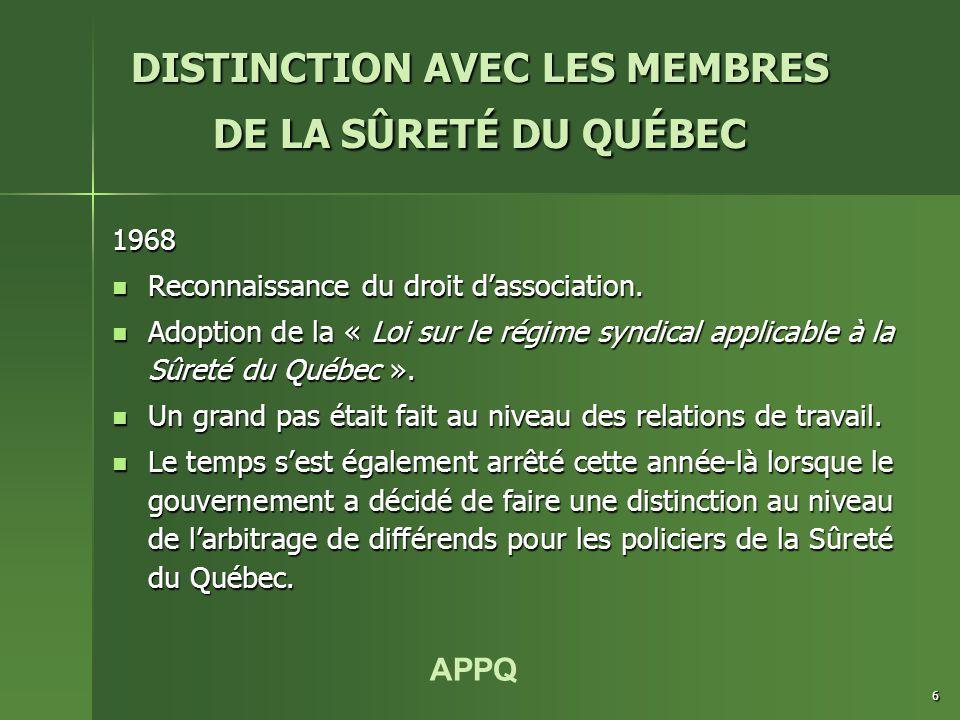 APPQ 6 1968 Reconnaissance du droit d'association.