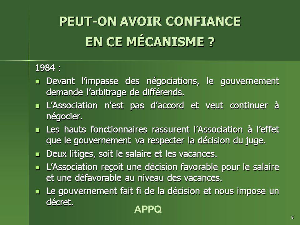 APPQ 8 1984 : Devant l'impasse des négociations, le gouvernement demande l'arbitrage de différends.