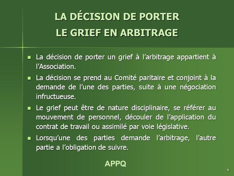 APPQ 9 La décision de porter un grief à l'arbitrage appartient à l'Association. La décision de porter un grief à l'arbitrage appartient à l'Associatio