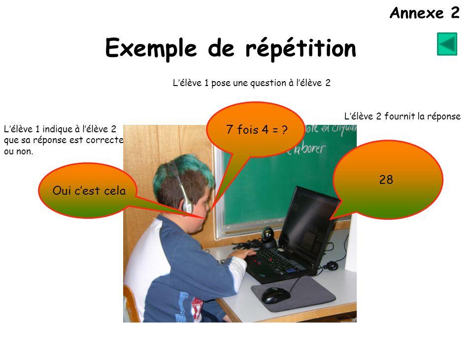 L'élève 1 pose une question à l'élève 2 7 fois 4 = .