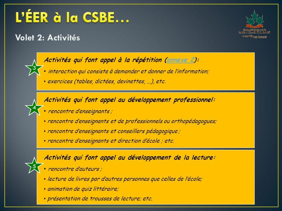 Volet 2: Activités Activités qui font appel à la répétition (annexe 2):annexe 2 interaction qui consiste à demander et donner de l'information; exercices (tables, dictées, devinettes, …), etc.