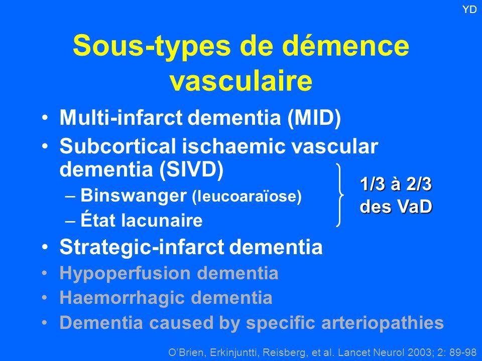 Sous-types de démence vasculaire Multi-infarct dementia (MID) Subcortical ischaemic vascular dementia (SIVD) –Binswanger (leucoaraïose) –État lacunair