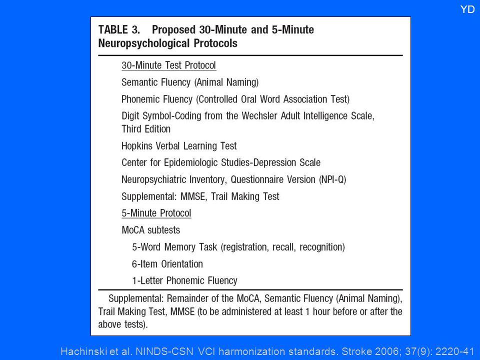 Hachinski et al. NINDS-CSN VCI harmonization standards. Stroke 2006; 37(9): 2220-41 YD