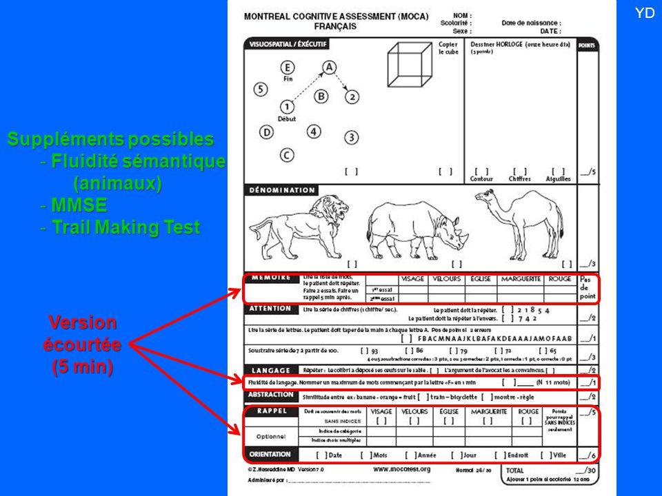 Versionécourtée (5 min) Suppléments possibles - Fluidité sémantique (animaux) - MMSE - Trail Making Test