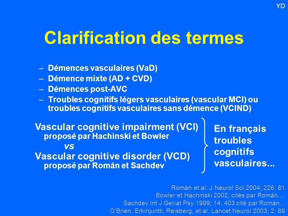 Clarification des termes –Démences vasculaires (VaD) –Démence mixte (AD + CVD) –Démences post-AVC –Troubles cognitifs légers vasculaires (vascular MCI