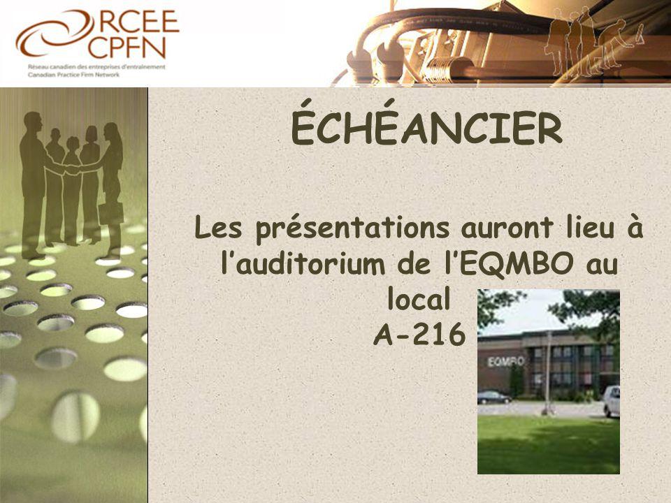 ÉCHÉANCIER Les présentations auront lieu à l'auditorium de l'EQMBO au local A-216