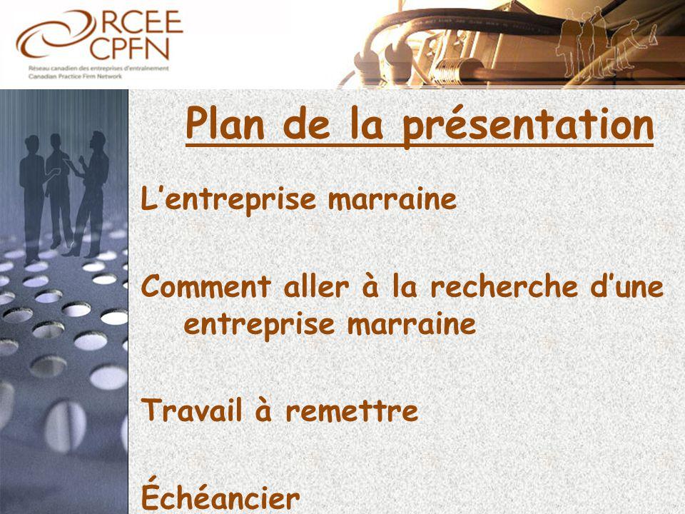 Plan de la présentation L'entreprise marraine Comment aller à la recherche d'une entreprise marraine Travail à remettre Échéancier