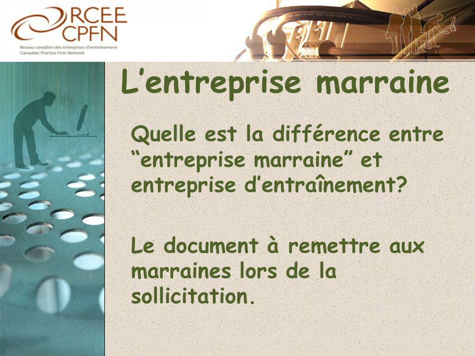 """L'entreprise marraine Quelle est la différence entre """"entreprise marraine"""" et entreprise d'entraînement? Le document à remettre aux marraines lors de"""