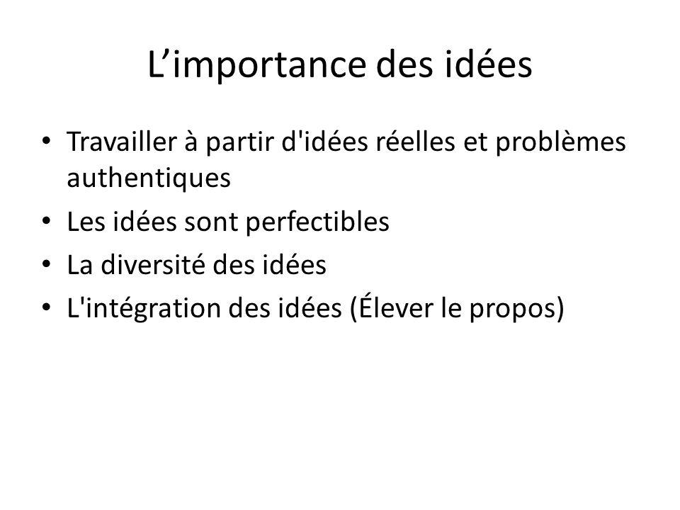 L'importance des idées Travailler à partir d idées réelles et problèmes authentiques Les idées sont perfectibles La diversité des idées L intégration des idées (Élever le propos)