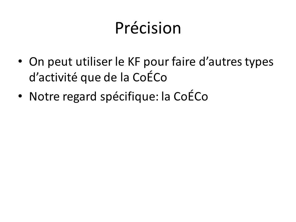 Précision On peut utiliser le KF pour faire d'autres types d'activité que de la CoÉCo Notre regard spécifique: la CoÉCo