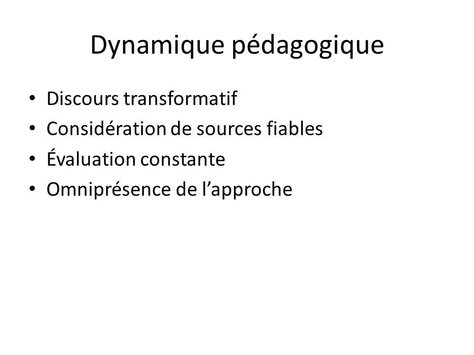 Dynamique pédagogique Discours transformatif Considération de sources fiables Évaluation constante Omniprésence de l'approche
