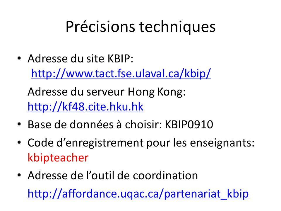 Précisions techniques Adresse du site KBIP: http://www.tact.fse.ulaval.ca/kbip/ http://www.tact.fse.ulaval.ca/kbip/ Adresse du serveur Hong Kong: http
