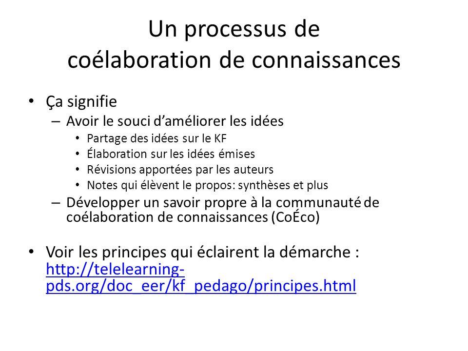 Un processus de coélaboration de connaissances Ça signifie – Avoir le souci d'améliorer les idées Partage des idées sur le KF Élaboration sur les idée