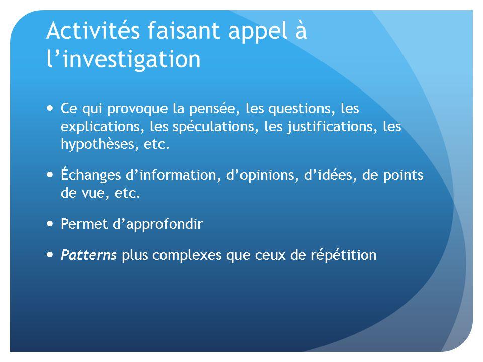 Activités faisant appel à l'investigation Ce qui provoque la pensée, les questions, les explications, les spéculations, les justifications, les hypothèses, etc.