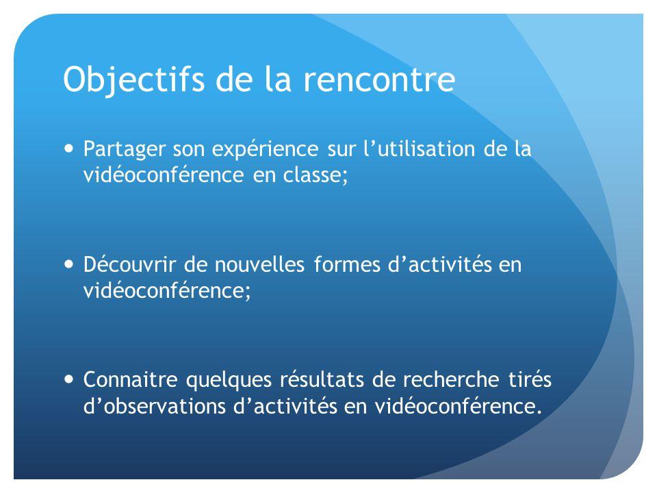 Objectifs de la rencontre Partager son expérience sur l'utilisation de la vidéoconférence en classe; Découvrir de nouvelles formes d'activités en vidéoconférence; Connaitre quelques résultats de recherche tirés d'observations d'activités en vidéoconférence.
