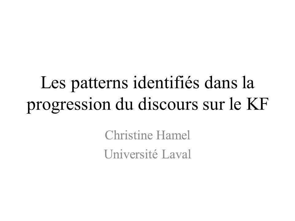 Les patterns identifiés dans la progression du discours sur le KF Christine Hamel Université Laval