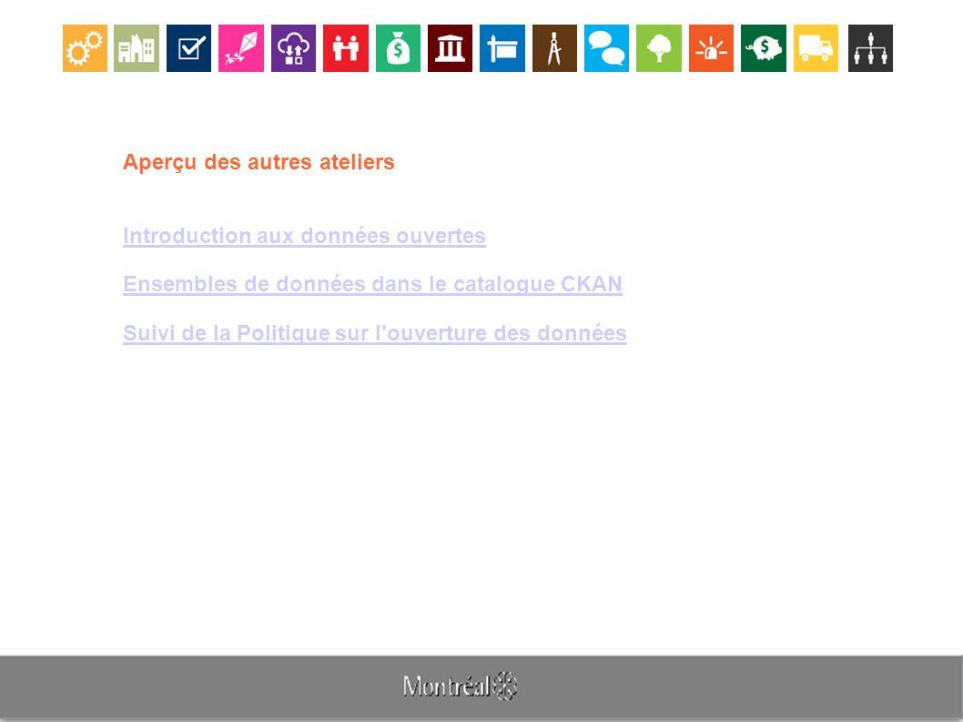 Aperçu des autres ateliers Introduction aux données ouvertes Ensembles de données dans le catalogue CKAN Suivi de la Politique sur l ouverture des données