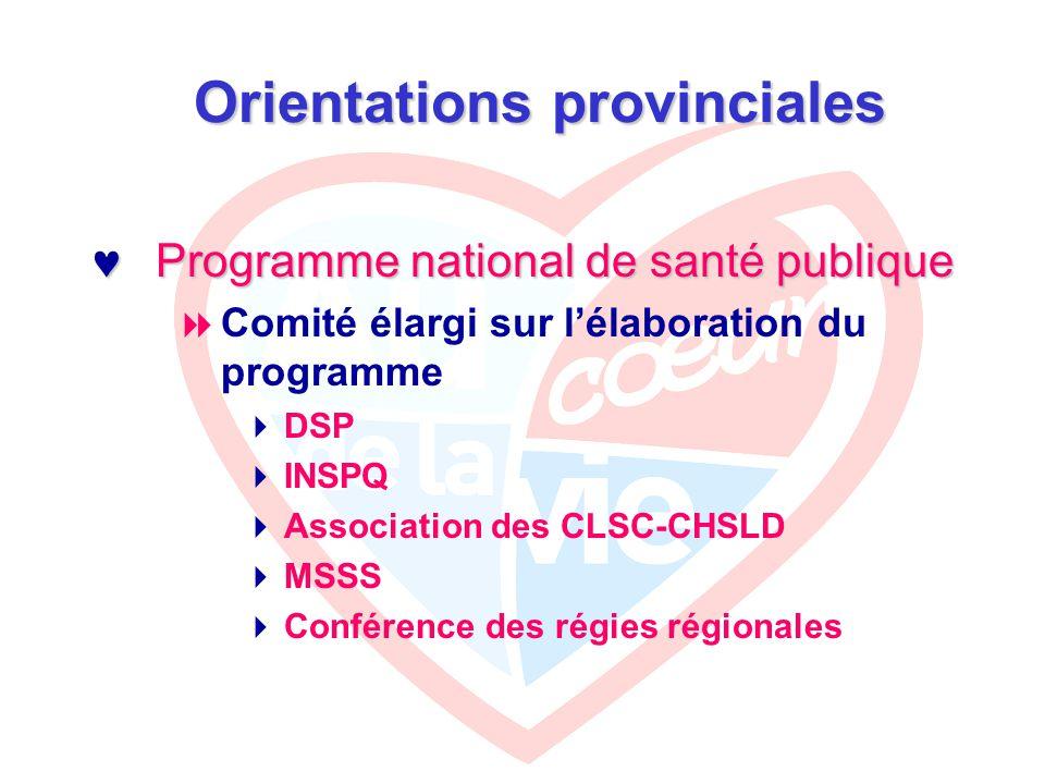Orientations provinciales Programme national de santé publique Programme national de santé publique  Comité élargi sur l'élaboration du programme  DSP  INSPQ  Association des CLSC-CHSLD  MSSS  Conférence des régies régionales