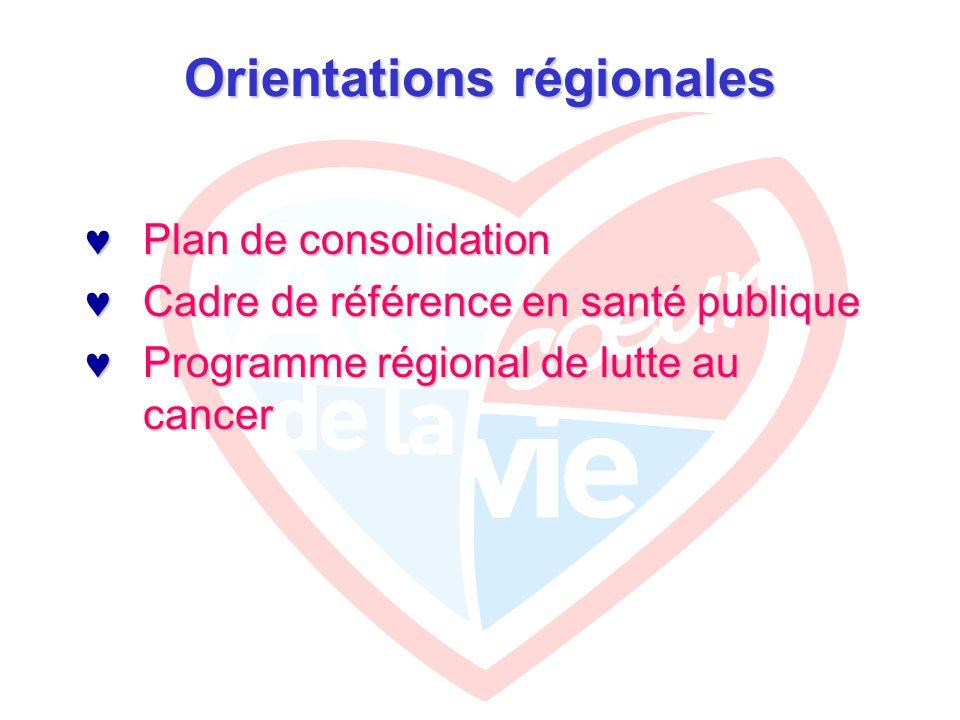 Orientations régionales Plan de consolidation Plan de consolidation Cadre de référence en santé publique Cadre de référence en santé publique Programme régional de lutte au cancer Programme régional de lutte au cancer