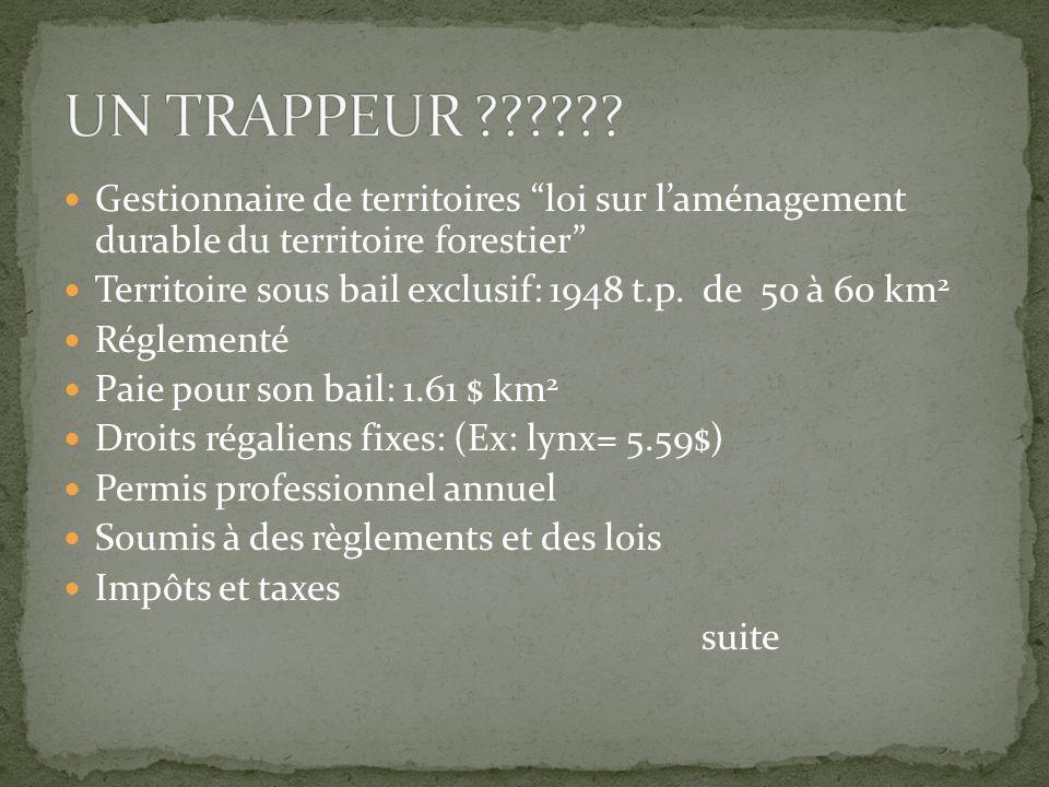 Gestionnaire de territoires loi sur l'aménagement durable du territoire forestier Territoire sous bail exclusif: 1948 t.p.