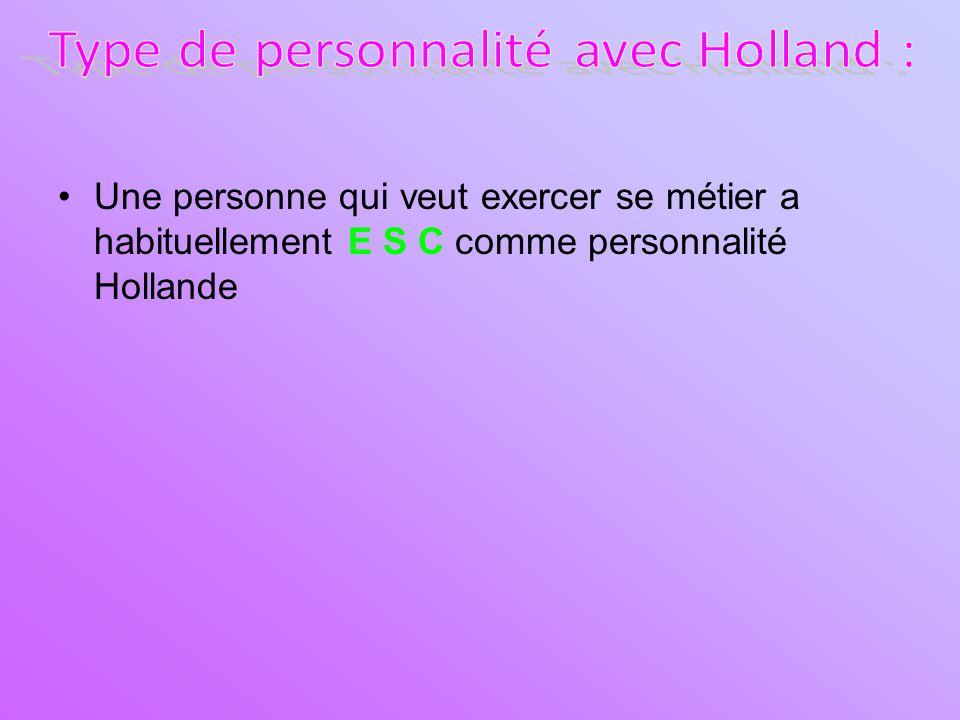 Une personne qui veut exercer se métier a habituellement E S C comme personnalité Hollande