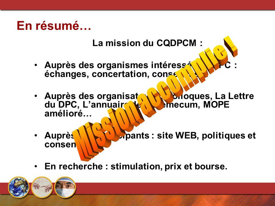 En résumé… La mission du CQDPCM : Auprès des organismes intéressés au DPC : échanges, concertation, consensus… Auprès des organisateurs : Colloques, L