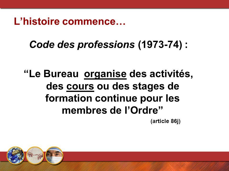 L'histoire commence… Code des professions (1973-74) : Le Bureau organise des activités, des cours ou des stages de formation continue pour les membres de l'Ordre (article 86j)