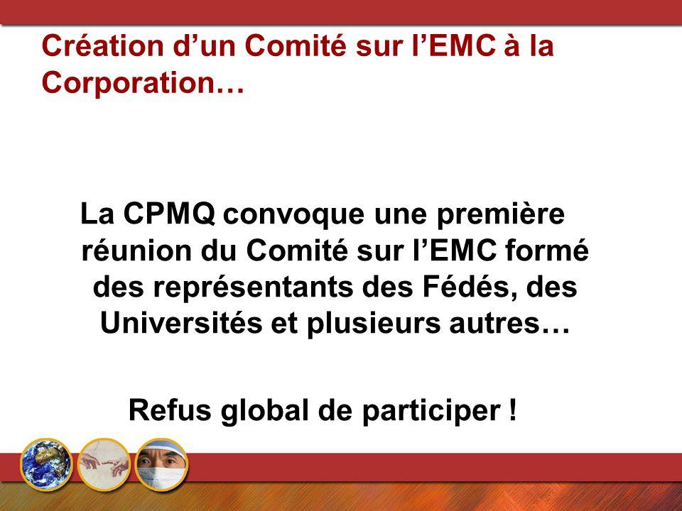 Création d'un Comité sur l'EMC à la Corporation… La CPMQ convoque une première réunion du Comité sur l'EMC formé des représentants des Fédés, des Universités et plusieurs autres… Refus global de participer !