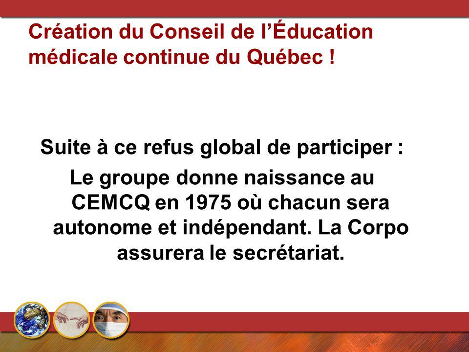 Création du Conseil de l'Éducation médicale continue du Québec ! Suite à ce refus global de participer : Le groupe donne naissance au CEMCQ en 1975 où