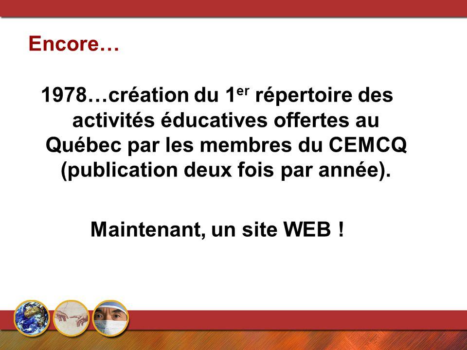 Encore… 1978…création du 1 er répertoire des activités éducatives offertes au Québec par les membres du CEMCQ (publication deux fois par année). Maint