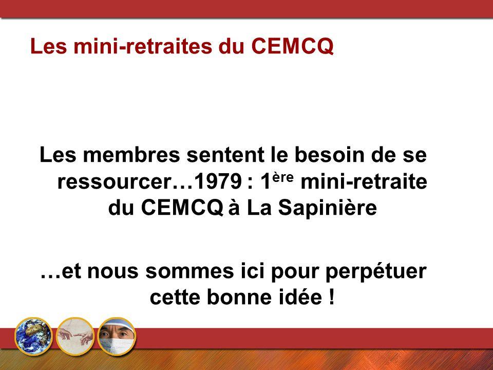 Les mini-retraites du CEMCQ Les membres sentent le besoin de se ressourcer…1979 : 1 ère mini-retraite du CEMCQ à La Sapinière …et nous sommes ici pour