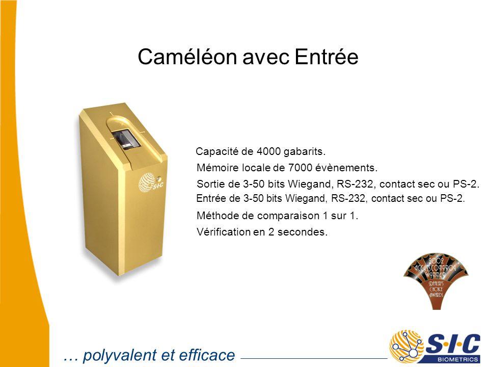 Caméléon avec Entrée Capacité de 4000 gabarits. Mémoire locale de 7000 évènements.