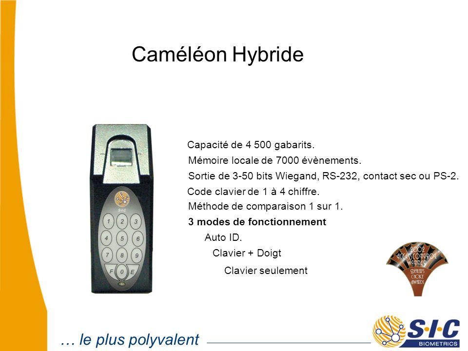 Caméléon Hybride Capacité de 4 500 gabarits. Code clavier de 1 à 4 chiffre.