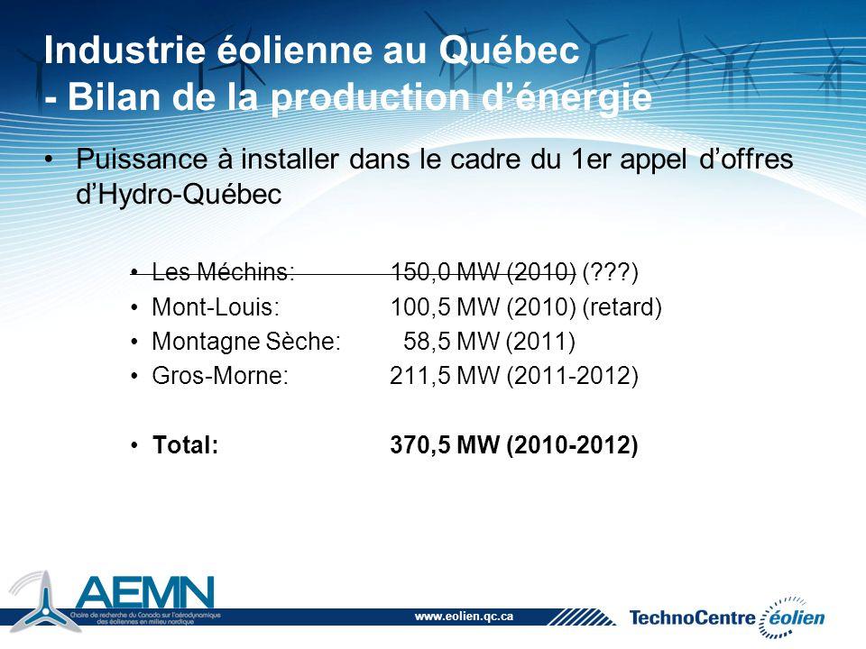 www.eolien.qc.ca Industrie éolienne au Québec - Bilan de la production d'énergie Puissance à installer dans le cadre du 1er appel d'offres d'Hydro-Qué