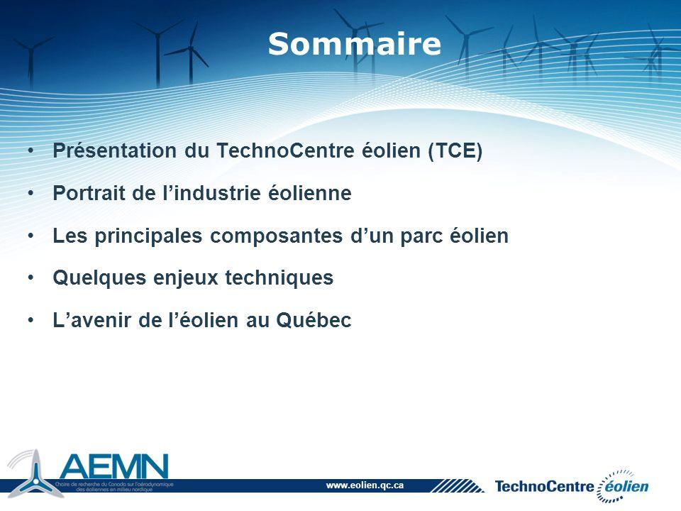 www.eolien.qc.ca Présentation du TechnoCentre éolien (TCE) Portrait de l'industrie éolienne Les principales composantes d'un parc éolien Quelques enje