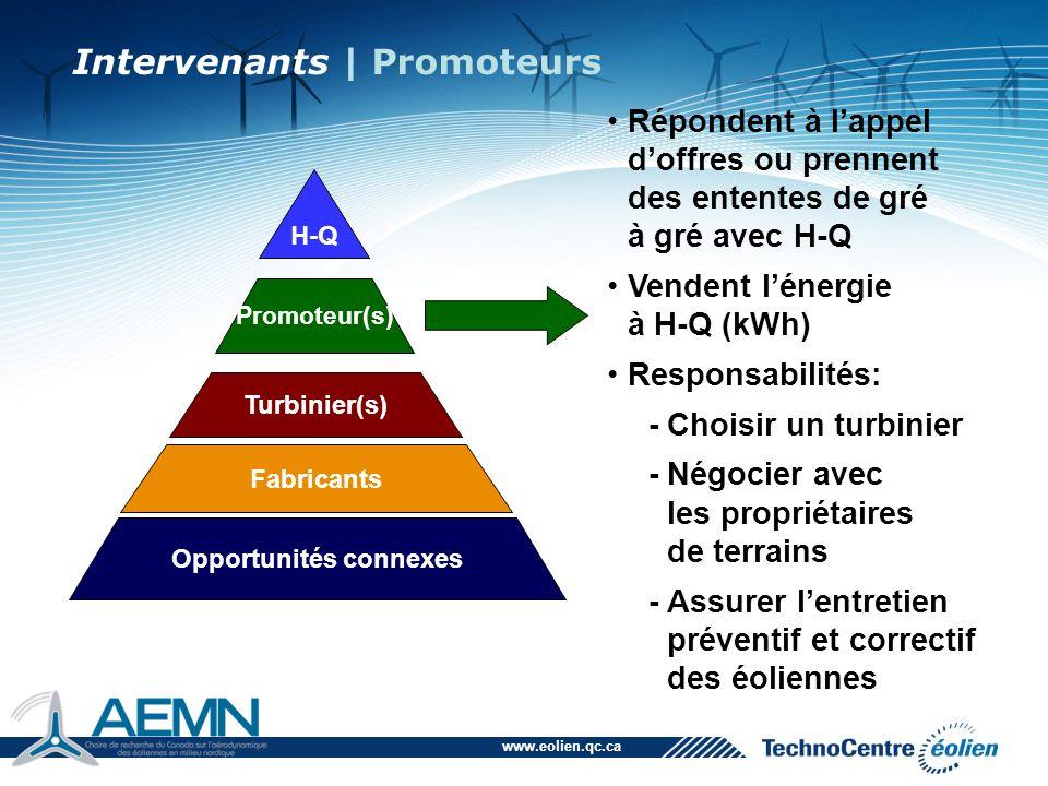 www.eolien.qc.ca Répondent à l'appel d'offres ou prennent des ententes de gré à gré avec H-Q Vendent l'énergie à H-Q (kWh) Responsabilités: -Choisir u