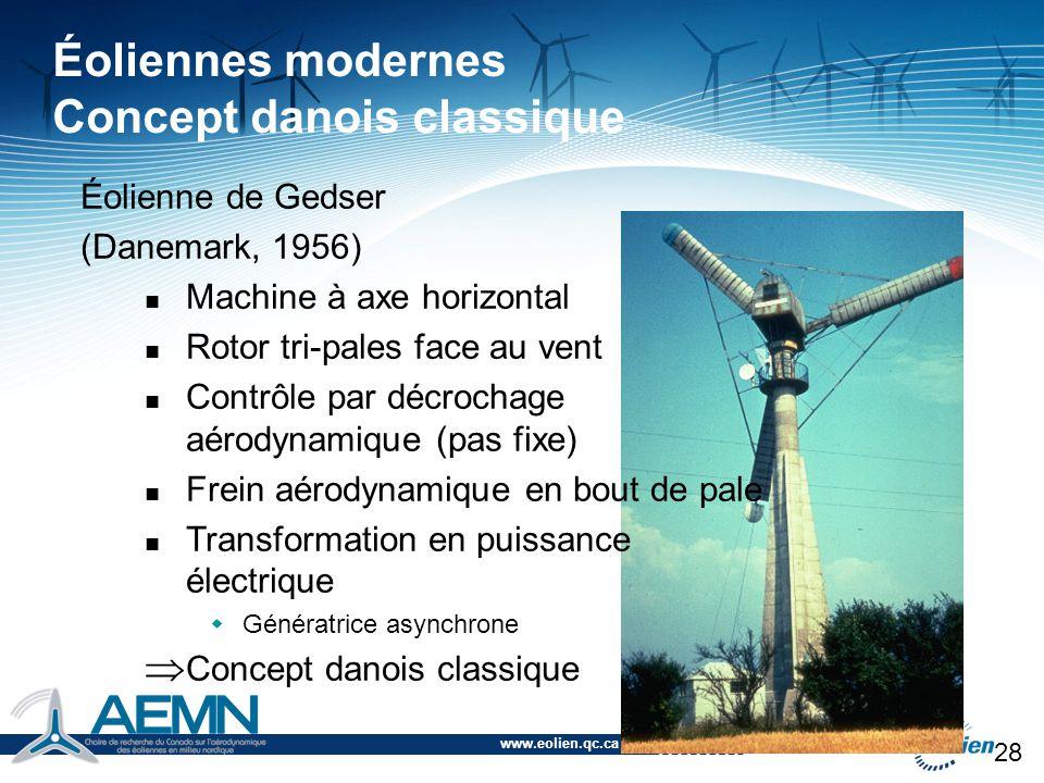 www.eolien.qc.ca 28 Éolienne de Gedser (Danemark, 1956) Machine à axe horizontal Rotor tri-pales face au vent Contrôle par décrochage aérodynamique (p
