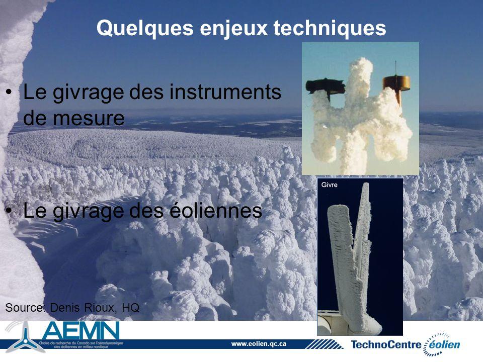 www.eolien.qc.ca Quelques enjeux techniques Le givrage des instruments de mesure Le givrage des éoliennes Source: Denis Rioux, HQ