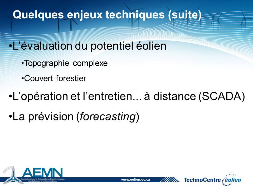 www.eolien.qc.ca Quelques enjeux techniques (suite) L'évaluation du potentiel éolien Topographie complexe Couvert forestier L'opération et l'entretien
