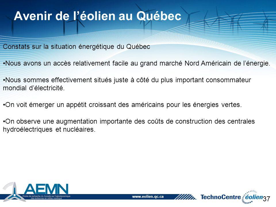 www.eolien.qc.ca 38 Avenir de l'éolien au Québec Le Québec peut se positionner comme étant un fournisseur d'électricité de sources renouvelables en exploitant le potentiel éolien du Québec pour nos besoins énergétiques et pour le marché de l'exportation.