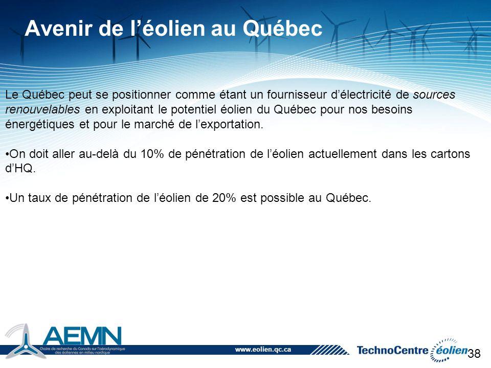 www.eolien.qc.ca 38 Avenir de l'éolien au Québec Le Québec peut se positionner comme étant un fournisseur d'électricité de sources renouvelables en ex