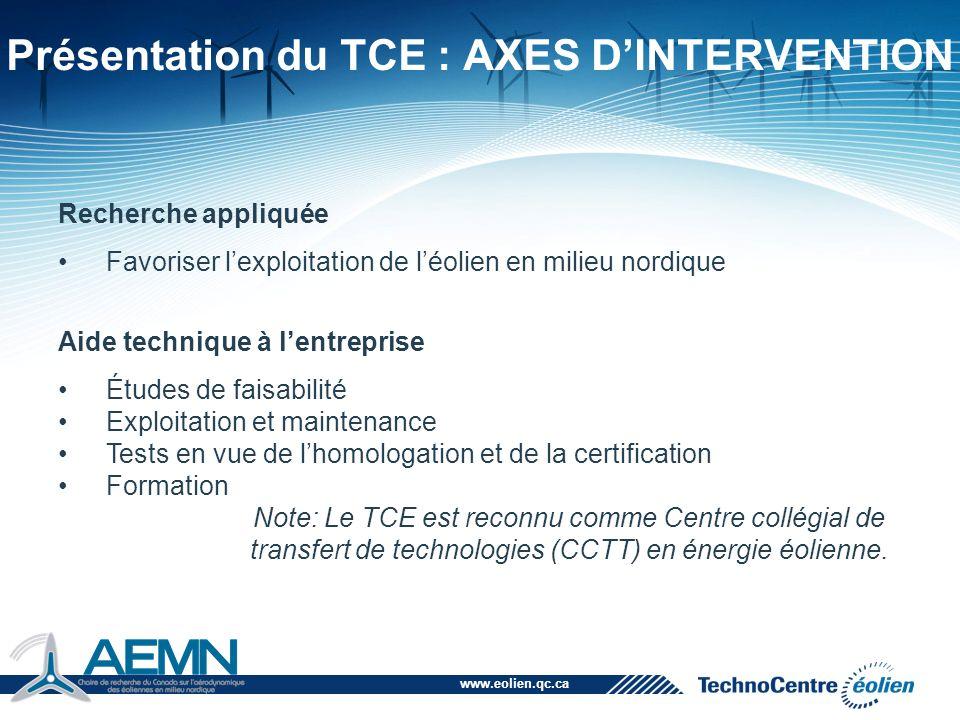 www.eolien.qc.ca Présentation du TCE : AXES D'INTERVENTION Recherche appliquée Favoriser l'exploitation de l'éolien en milieu nordique Aide technique