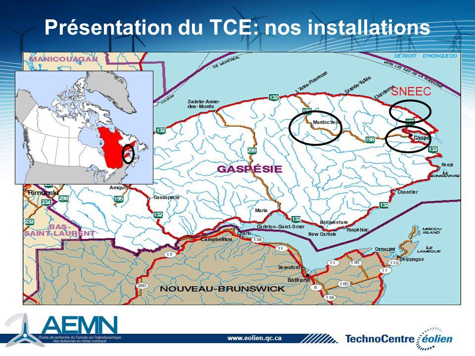 www.eolien.qc.ca Présentation du TCE : SNEEC 2 éoliennes REpower de 2MW chaque