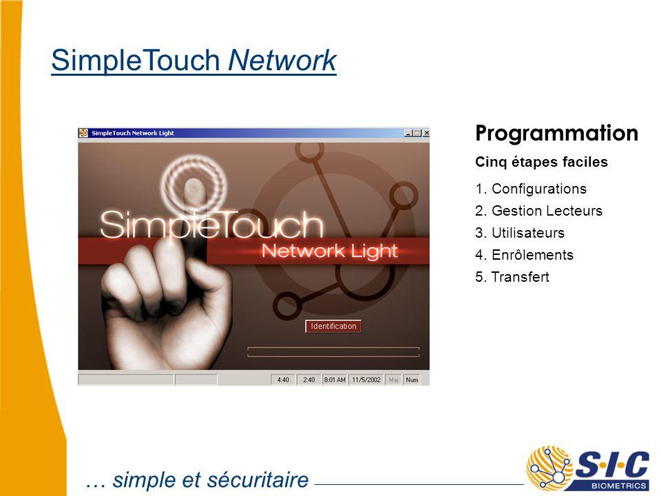 Programmation Cinq étapes faciles 1. Configurations 2. Gestion Lecteurs 3. Utilisateurs 4. Enrôlements 5. Transfert … simple et sécuritaire SimpleTouc