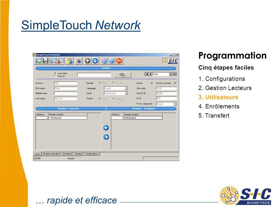 … rapide et efficace SimpleTouch Network Programmation Cinq étapes faciles 1. Configurations 2. Gestion Lecteurs 4. Enrôlements 5. Transfert 3. Utilis